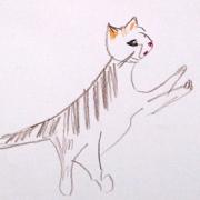 jumping cats - pastel & crayon